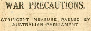 Article heading from The Australian Worker, 5 November 1914