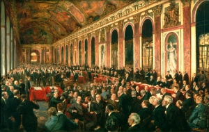 Painting of The signing of the treaty of peace at Versailles, by Joseph Finnemore