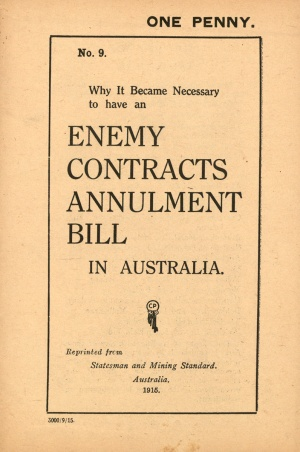 Cover page for enemy contracts annulment bill in Australia
